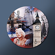 """23 """"H Metropolitan Style skutečné malby Metal Nástěnné hodiny"""