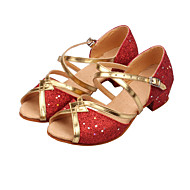 baratos Sapatilhas de Dança-Mulheres Sapatos de Dança Latina / Dança de Salão Glitter Sandália Lantejoulas / Gliter com Brilho Salto Baixo Não Personalizável Sapatos de Dança Dourado / Fúcsia / Azul Claro / Crianças / Camurça