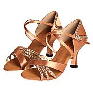Women's Latin Ballroom Salsa Satin Heel Customized Heel Bronze Customizable