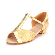 Dame Barn Latin Ballett Glimtende Glitter Sandaler Spenne Lav hæl Gull Sølv Gull 3,5 cm Kan ikke spesialtilpasses