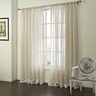 billige Gardiner ogdraperinger-To paneler Window Treatment Neoklassisk , Stribe Soverom Lin Materiale Gardiner Skygge Hjem Dekor For Vindu