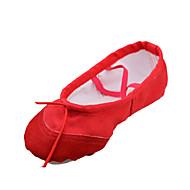 baratos Sapatilhas de Dança-Mulheres Sapatilhas de Balé Tecido Sapatilha Sem Salto Não Personalizável Sapatos de Dança Branco / Vermelho / Rosa / Crianças / Couro
