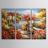 billige -Hånd-malede Landskab Tre Paneler Kanvas Hjem Dekoration