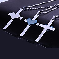 Personalized Gift  Stainless Steel  Heart Bible Cross  Engraved Pendant Necklace with 60cm Chain