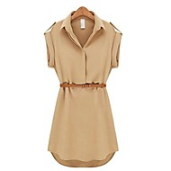 Dámské Shift Šaty - Jednobarevné Nad kolena Košilový límec