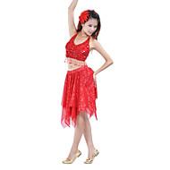 Dança do Ventre Saia Mulheres Treino Poliéster Lantejoula Saia