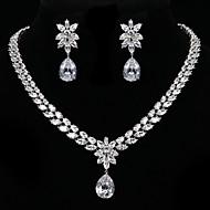 billiga Brudsmycken-Dam Kubisk Zirkoniumoxid Silver Bröllop Party Speciellt Tillfälle Årsdag Födelsedag Förlovning Gåva Dagligen Örhängen Dekorativa Halsband