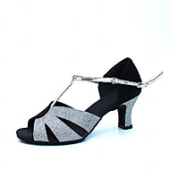 "Women's Latin Modern Ballroom Satin Sandal Heel Sequin Buckle Chunky Heel Silver 2"" - 2 3/4"" Non Customizable"