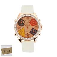 Χαμηλού Κόστους Εξατομικευμένα Ρολόγια-Εξατομικευμένη Brown γυναικών δώρων Dial Λευκό PU Band Αναλογικό Χαραγμένο ρολόι με στρας