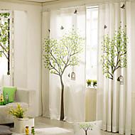 baratos Cortinas Transparentes-desenhador dois painéis botânica floral de linho quarto cortinas de painel de mistura de algodão cortinas