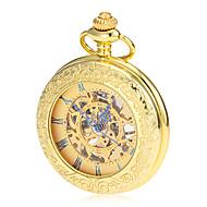 남성용 회중 시계 기계식 시계 메카니컬 메뉴얼-윈딩 중공 판화 합금 밴드 빈티지 럭셔리 골드