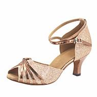 billige Sko til latindans-Dame Moderne sko Glimtende Glitter / Lakklær Høye hæler Kustomisert hæl Kan spesialtilpasses Dansesko Brun