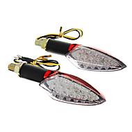 DIY Vandtæt 15-LED blinklys Gult lys for motorcykler Rød (DC12-16V 2W 2-Piece)
