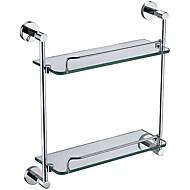 Χαμηλού Κόστους YALI.M®-Αξεσουάρ μπάνιου Στερεά Brass Double Glass Shelf