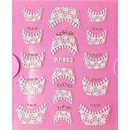 1 pcs Franske design tips 3D Negle Stickers Blonde klistermærker Negle kunst Manicure Pedicure Daglig Abstrakt / Mode / Fransk Tips Guide / Lace Sticker / 3D Nail Stickers