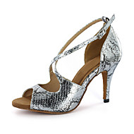 Women's Latin Ballroom Leatherette Sandal Buckle Stiletto Heel Silver Gold Customizable