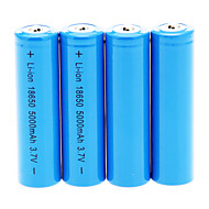 cheap Flashlights & Camping Lanterns-18650 Batteries Rechargeable Lithium-ion Battery 5000 mAh 4pcs Rechargeable for Camping/Hiking/Caving