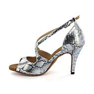 baratos Sapatilhas de Dança-Mulheres Sapatos de Dança Latina / Dança de Salão Courino Sandália Presilha Salto Agulha Personalizável Sapatos de Dança Prateado / Dourado
