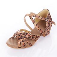 baratos Sapatilhas de Dança-Mulheres Sapatos de Dança Latina / Dança de Salão Cetim Sandália Salto Baixo Não Personalizável Sapatos de Dança Leopardo / Preto / Azul Real / Crianças / Camurça