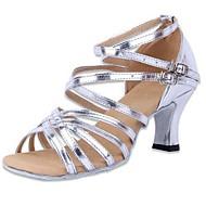 Χαμηλού Κόστους Παπούτσια χορού-Γυναικείο Λάτιν Δερματίνη Ψηλά τακούνια Κοντόχοντρο Τακούνι Ασημί 5-6,8 εκ