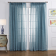 To paneler Window Treatment Moderne , Solid Stue Lin/ Polyester Blanding Materiale Gardiner Skygge Hjem Dekor For Vindu
