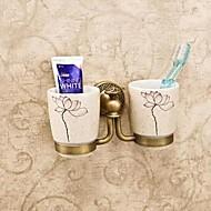 歯ブラシホルダー / アンティーク真鍮 セラミック /アンティーク