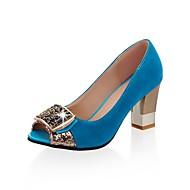 billige Sko i Store Størrelser-Flokker kvinner Chunky Heel Peep Toe Pumps sko (flere farger)