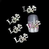 저렴한 -10PCS는 편지 3 차원 모조 다이아몬드 합금 액세서리 네일 아트 장식을 사랑