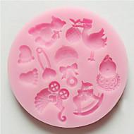 kalıp 3d karikatür pasta için kurabiye için silikon nonstick rastgele renk
