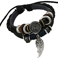 Men's Beaded woven Charm Bracelet Wrap Bracelet Leather Bracelet Leather Angel Wings Unique Design Fashion Bracelet Jewelry Black For Christmas Gifts Daily