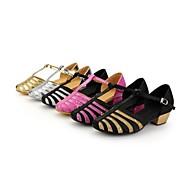"""billige Moderne sko-Barne Moderne Sateng Sandaler Spenne Lav hæl Svart og Sølv Sort og Gull Sølv Gull Fuksia 1 """"- 1 3/4"""" Kan ikke spesialtilpasses"""