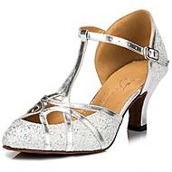 billige Sambasko-Dame Moderne dansesko Glimtende Glitter Høje hæle / Sandaler Paillette Kraftige Hæle Kan ikke tilpasses Dansesko Sølv / Gyldent