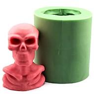 tanie Formy do ciast-Halloween czaszka ludzki szkielet kremówki ciasto czekoladowe świeca silikonowa forma, l8.4cm * w7cm * h9.6cm