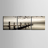 cheap Prints-Stretched Canvas Art Landscape Bridge Cross the Sea Set of 3
