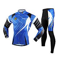 お買い得  -FJQXZ 男性用 長袖 タイツ付きサイクリングジャージー - ブルー バイク 洋服セット, 防風, 高通気性, 3Dパッド, 保温, 速乾性 メッシュ ライン/ウェイブ / 抗紫外線