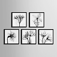 Floral/Botanical Framed Canvas Framed Set Wall Art,PVC Material Black No Mat With Frame For Home Decoration Frame Art