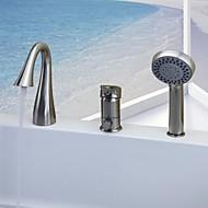 お買い得  ブラッシュドニッケル Series-浴槽用水栓 - コンテンポラリー ブラッシュドニッケル バスタブとシャワー セラミックバルブ / シングルハンドル三穴