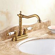 Traditionel Centersat Keramik Ventil To Huller To Håndtag To huller Antik Messing, Håndvasken vandhane