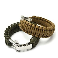 Survival Bracelet Hiking Climbing Emergency Nylon Stainless Steel Aluminium Alloy Green Black Brown
