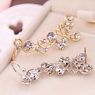 Punhos da orelha Strass imitação de diamante Liga Formato Animal Borboleta Prata Dourado Jóias Para Diário