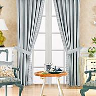billige Gardiner-to paneler klassisk polyester bomull blanding blå energisparing gardin