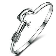 Dam Armringar Silver Armband Sterlingsilver Delfin Vänner Djur damer Vintage Fest Kontor Ledigt Armband Smycken Silver Till Bröllop Party Gåva
