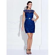 Tube / kolonne Illusion Neckline Kort / mini Blondelukning Cocktailparty Kjole med Krystaldetaljering ved TS Couture®