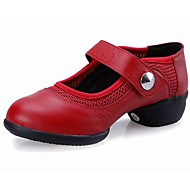 "Women's Dance Sneakers Leather Sneaker Low Heel Black Red 1"" - 1 3/4"" Non Customizable"
