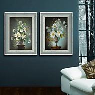 Blomstret/Botanisk / Stilleben Innrammet Lerret / Innrammet Sett Wall Art,PVC Mørkeblå Ingen Passpartou med Frame Wall Art