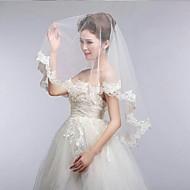 Χαμηλού Κόστους Έκπτωση-Μίας Βαθμίδας Άκρη με Απλίκα Δαντέλας Αχηβαδωτή Άκρια Πέπλα Γάμου Πέπλα ως τον αγκώνα Με 55,12 ίντσες (140εκ) Δαντέλα Τούλι