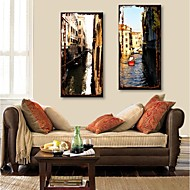 E-HOME® Stretched Canvas Art City Canal Decorative Painting Set of 2
