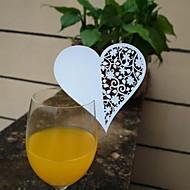 billige -12-pakning laser kutte hjerte cup kort navn sted eskorte kort for vin glass bryllup navnefest julefest dekorasjon