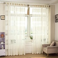 Country Curtains® Sheer Hollow Out Horizontal Stripe Sheer Curtains Drapes Two Panel