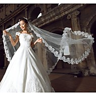 cheap Wedding Veils-One-tier Lace Applique Edge Wedding Veil Cathedral Veils 53 118.11 in (300cm) Lace Organza